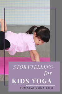 young child doing yoga pose on a yoga mat, storytelling for kids yoga,