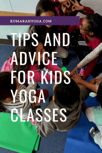 tips and advice for teaching a kids yoga class in a school or studio, at home or with students