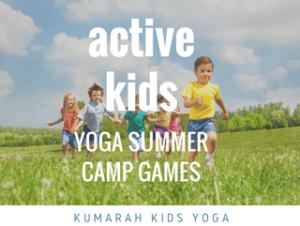 active kids yoga summer camp games from kumarah kids yoga, a bunch of kids running across a green field on a warm summer day