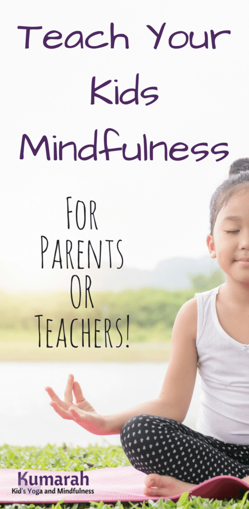 teach your kids mindfulness for parents or teacher, young girl practicing mindfulness and meditation on a yoga mat