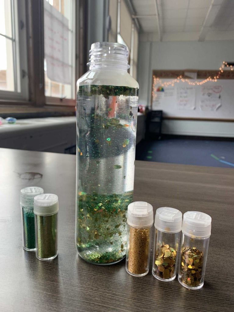add water with the glitter and glycerin in a calm down jar