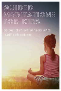 Guided meditations for kids to build mindfulness and self reflection, a young girl is sitting and practicing mindfulness facing a beautiful sunset outside