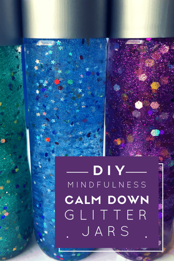 Three mindfulness calm down glitter jars in green, blue and purple made at home to help kids practice mindfulness