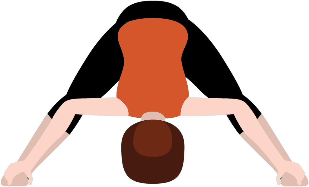 wide legged forward fold pose with feet far apart and torso folded down towards the mat with hands on feet and head hanging heavy