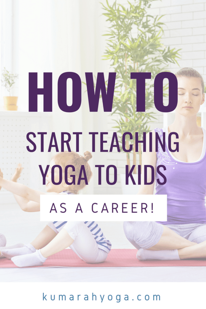 How to start teaching yoga to kids as a career, a young woman meditates while two kids play on a yoga mat beside her