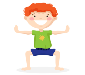 horse pose for my many colored days, not a box robot pose, kids yoga lesson plan