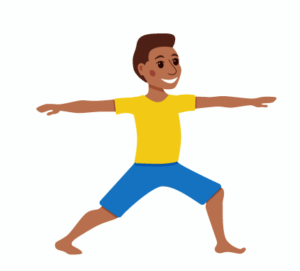 warrior two pose, yoga for kids, witch and warlock pose, not a box, kids yoga lesson plan