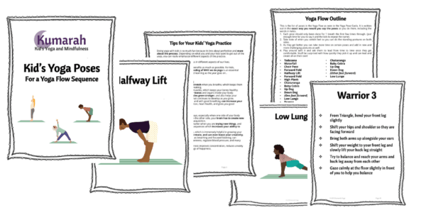 Sample images of the product Kids Yoga POses for a Yoga Flow Sequence from Kumarah yoga, six sample pages from the downloadable PDF
