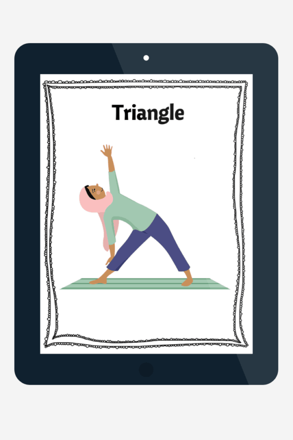 Girl in a hijab doing triangle pose in a digital version of a kids yoga card