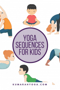 yoga sequences for kids, kids doing yoga poses like butterfly, up dog, bow pose and pyramid pose