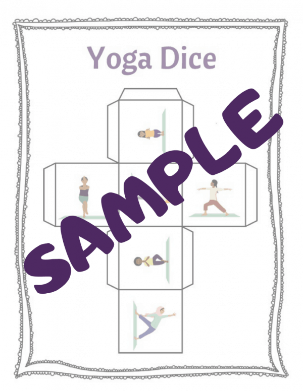 sample yoga printable and foldable dice to play with kids and learn yoga