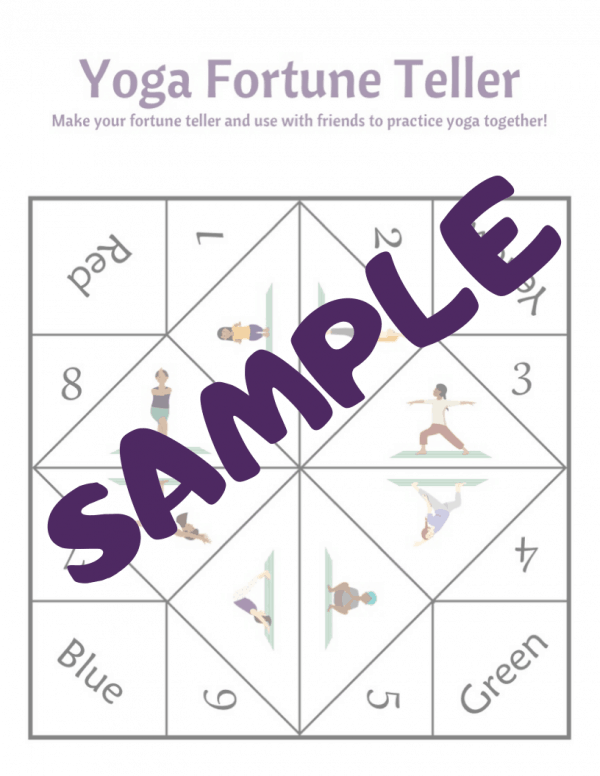 sample of a yoga fortune teller for kids to print and make to play and practice yoga poses with friends, yoga games at home