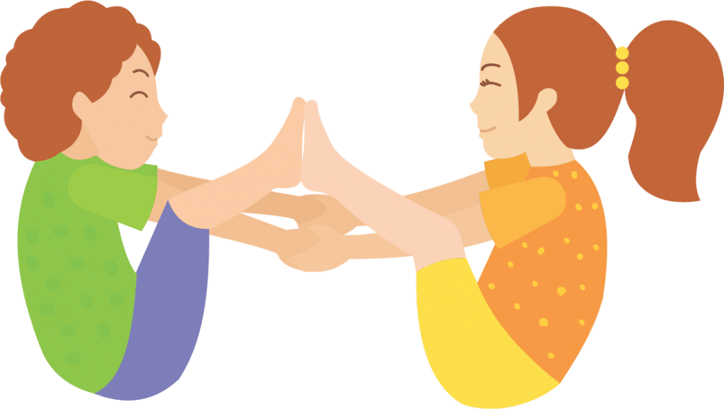 sit facing a partner and lift your legs so your feet touch and creat a rainbow shape hold hands to help balance in rainbow pose