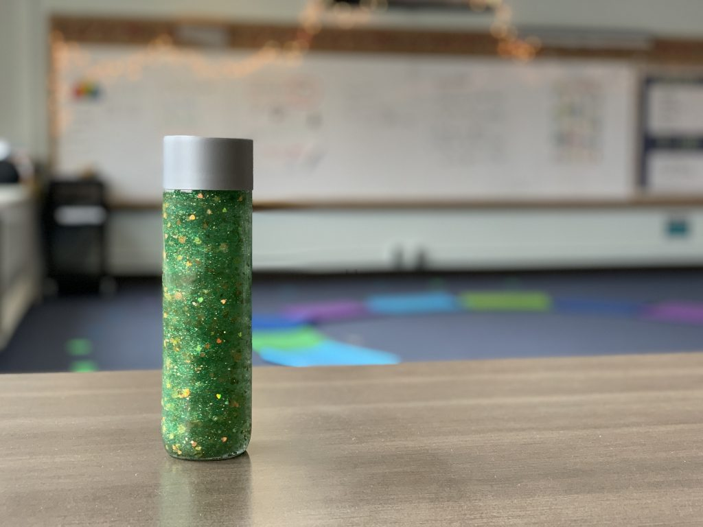 green and gold glitter mindfulness jar for kids