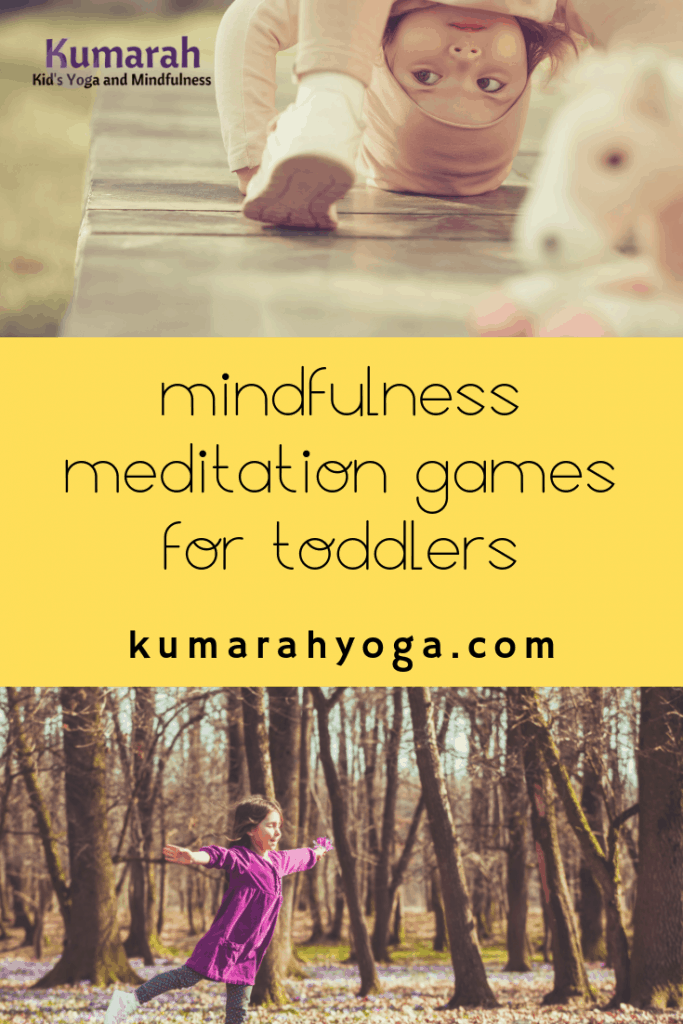 mindfulness meditation games for toddlers, young child trying a yoga pose in a game to learn mindfulness