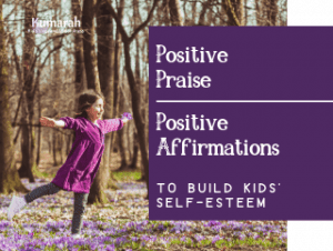 positive praise and affirmation prompts for kids in a yoga class or any classroom to build self esteem and growth mindset
