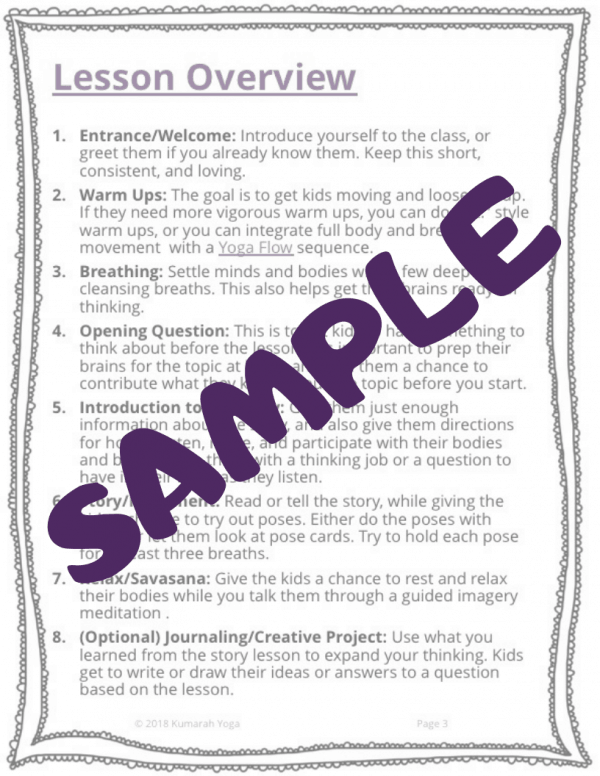 sample image for the product Journey kids yoga lesson, literacy lesson plan for kids yoga class