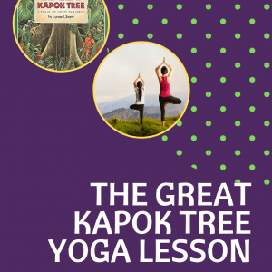 The Great Kapok Tree Kids Yoga Lesson, child and adult doing tree pose outside practicing yoga in nature