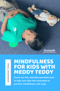 child and meddy teddy laying and meditating in savasana