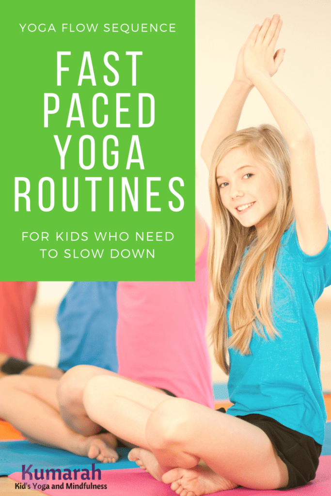 yoga flow routine for kids, kids yoga sequence for large class