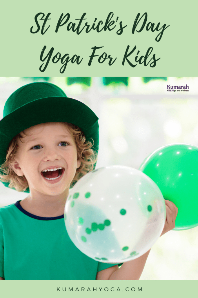 St Patrick's Day yoga for kids, child in a green hat with balloons smiling