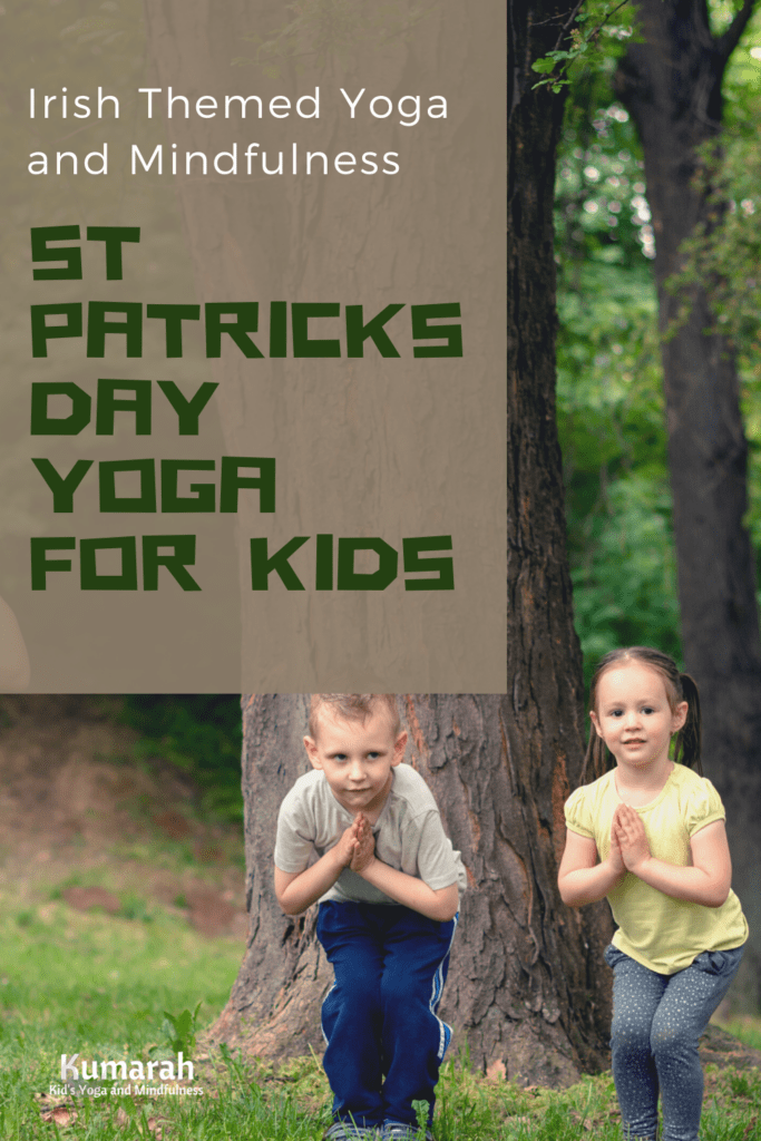 St Patricks Day Yoga for Kids, Irish themed yoga and mindfulness for kids, two kids doing yoga poses outside in front of a tree