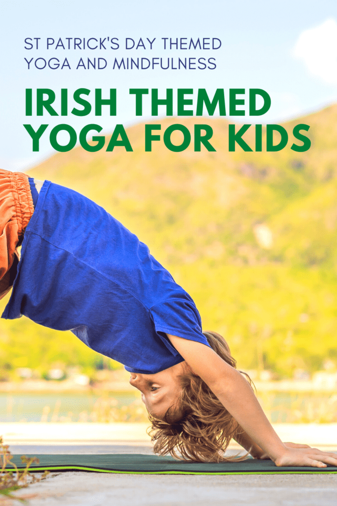 Irish themed yoga for kids, child doing down dog outside in front of green hills