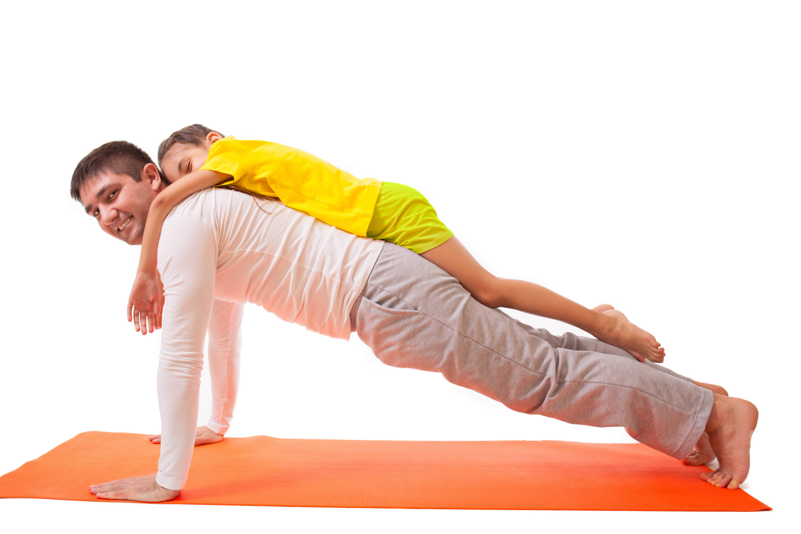 partner yoga game with kids at home