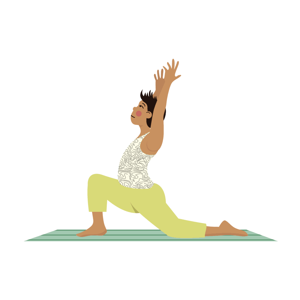 dragon pose for kids yoga stretching up with one knee on the ground.