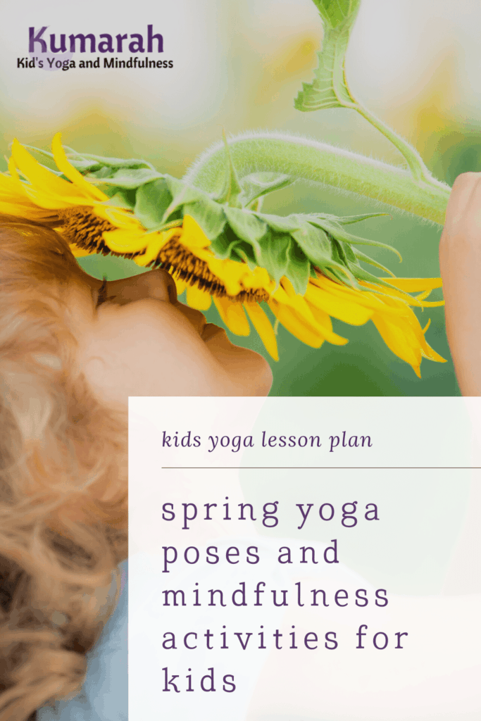 spring themed yoga for kids, yoga poses and mindfulness activities for kids