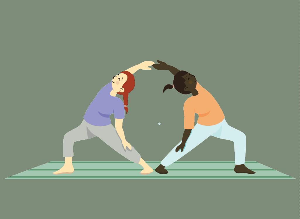 partner reverse warrior, partner yoga poses for kids at home