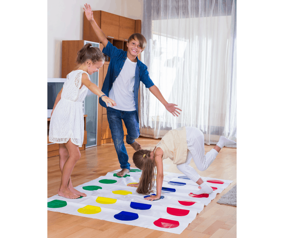 twister yoga, yoga games at home, yoga for kids at home