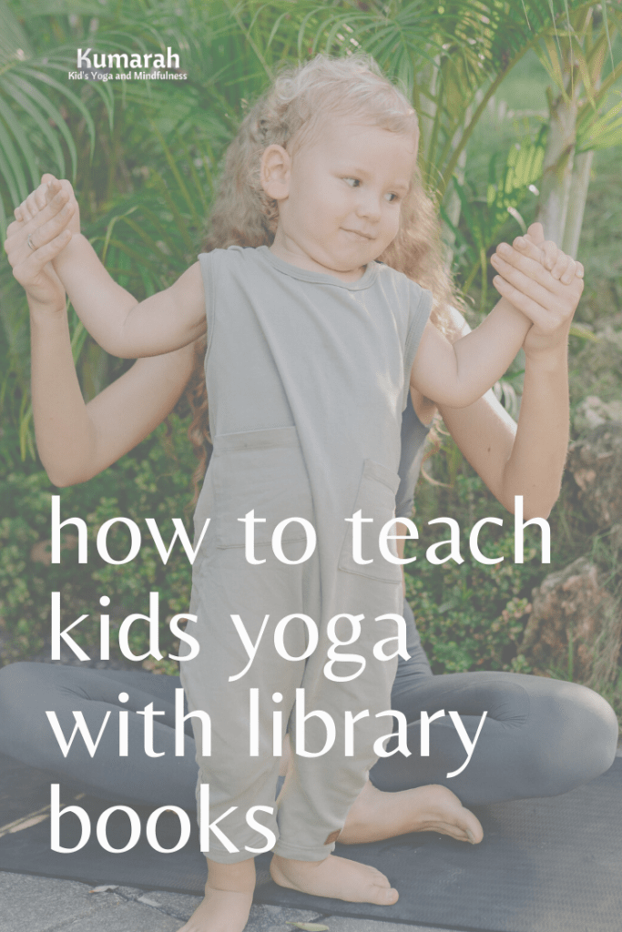 kids yoga poses and library books