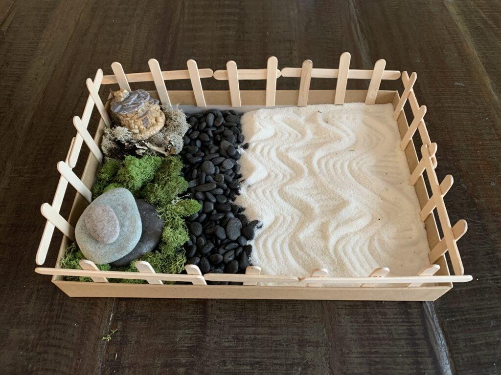 DIY zen garden for kids, fairy garden for kids, mindfulness meditation craft for kids