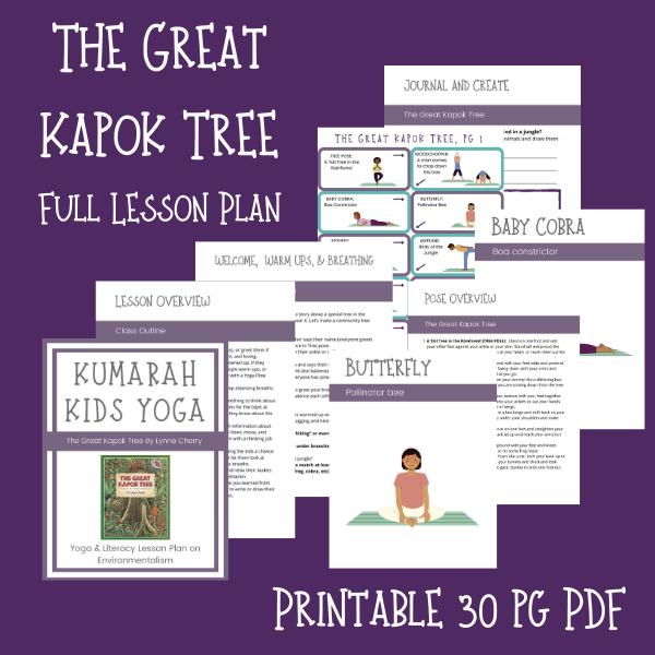 The Great Kapok Tree kids yoga lesson plan, full scripted lesson plan for kids yoga classes, storytelling yoga for kids