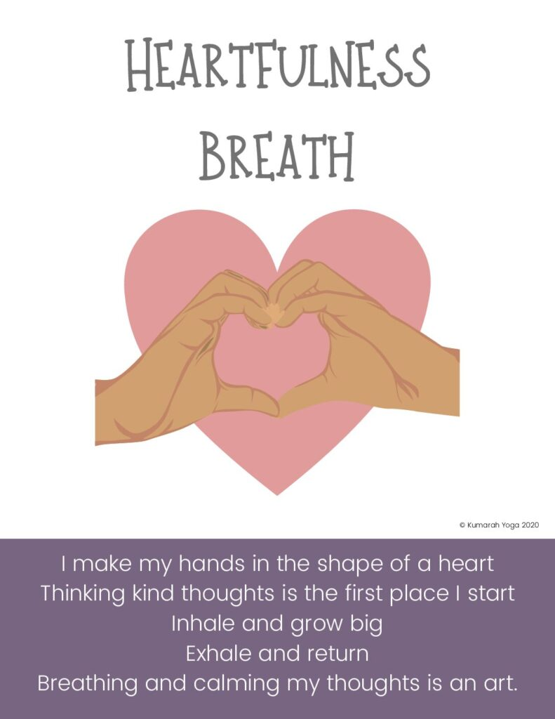 heartfulness breath for kids, mindful breathing exercise for kids, kids yoga class for valentines day