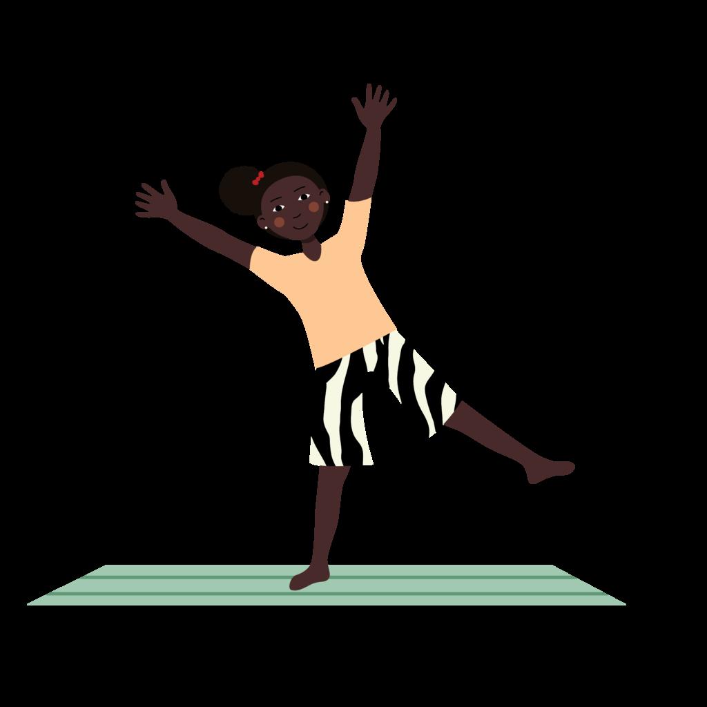 falling star pose, shooting star yoga pose for kids