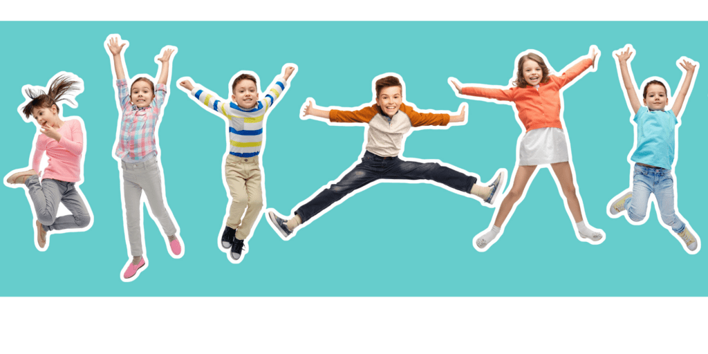 Kids jumping and excited doing firework pose for chinese new year yoga.
