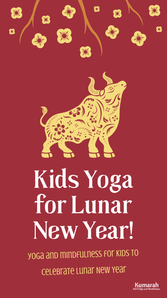 Ox image to celebrate Lunar New Year with kids yoga poses and activities.