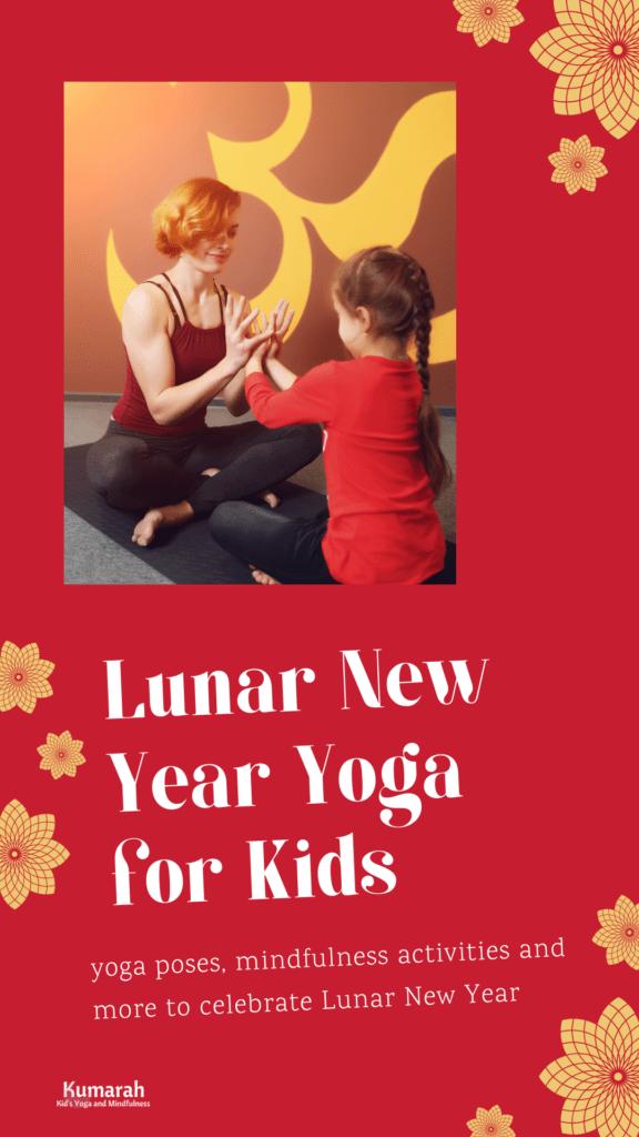 adult and child making a hand mudra to celebrate lunar new year with yoga and mindfulness for kids.