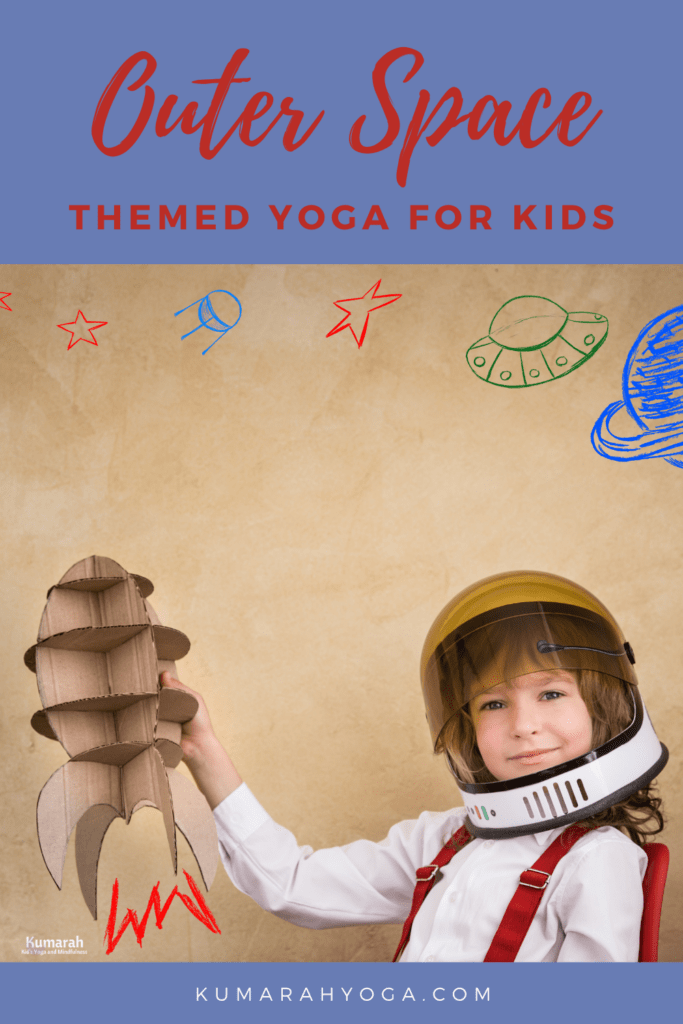 outer space themed yoga for kids, yoga poses for kids with a space theme