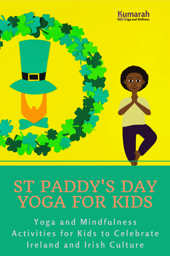 St Paddy's Day yoga for kids, child doing tree pose and a leprachaun in a green wreath of clover