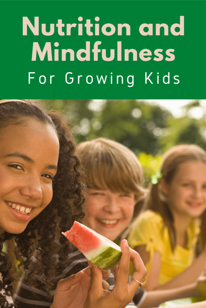 nutrition and mindfulness for growing kids, child eating watermelon