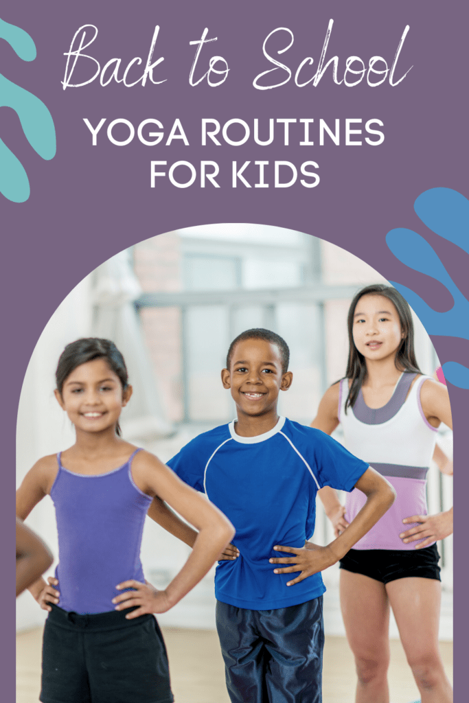 back to school yoga routines for kids, kids in a line getting ready for yoga in school